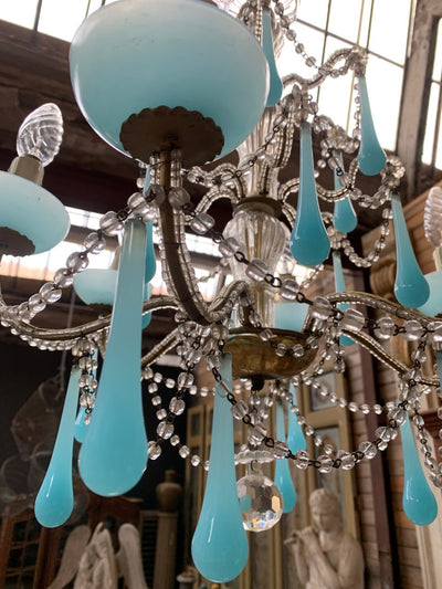 ITALIAN CHANDELIER WITH PEARLS AND BLUE OPALINE PENDANTS CIRCA 1930