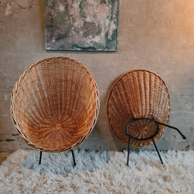A pair of Rattan Easy chairs