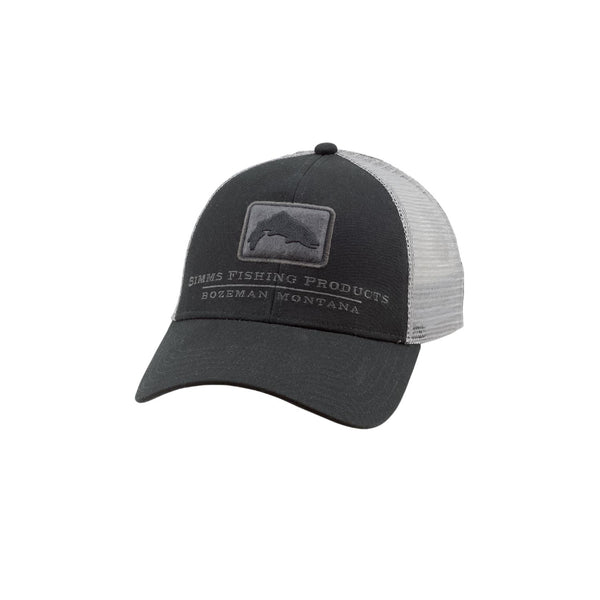 Black Simms Trout Icon Trucker Fishing Hat
