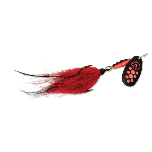 Fluorescent Red Mepps Black Fury Musky Killer Bucktail Spinner