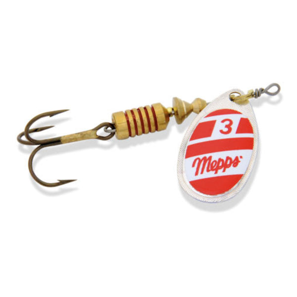 Red and White Mepps Aglia Inline Spinner