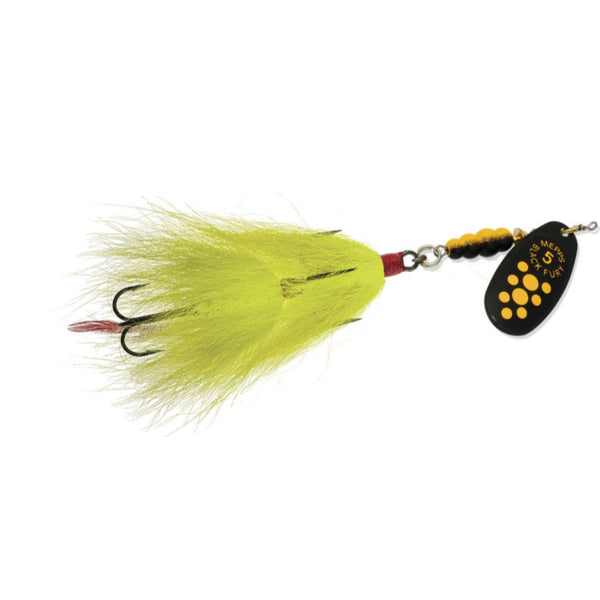 Yellow Mepps Black Fury Tandem Bucktail Spinner