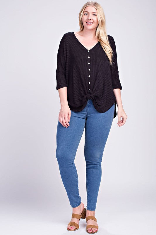Tessa Waffle Knit Button Top in Black