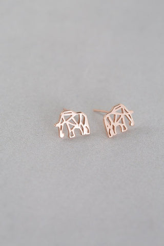 Elephant Earring Studs - 24k Gold Plated