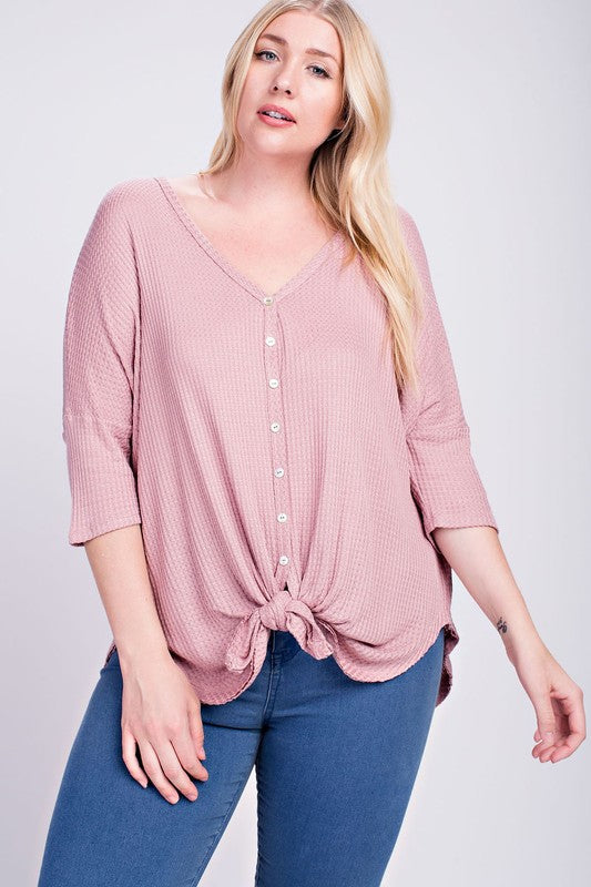 Tessa Waffle Knit Button Top in Mauve