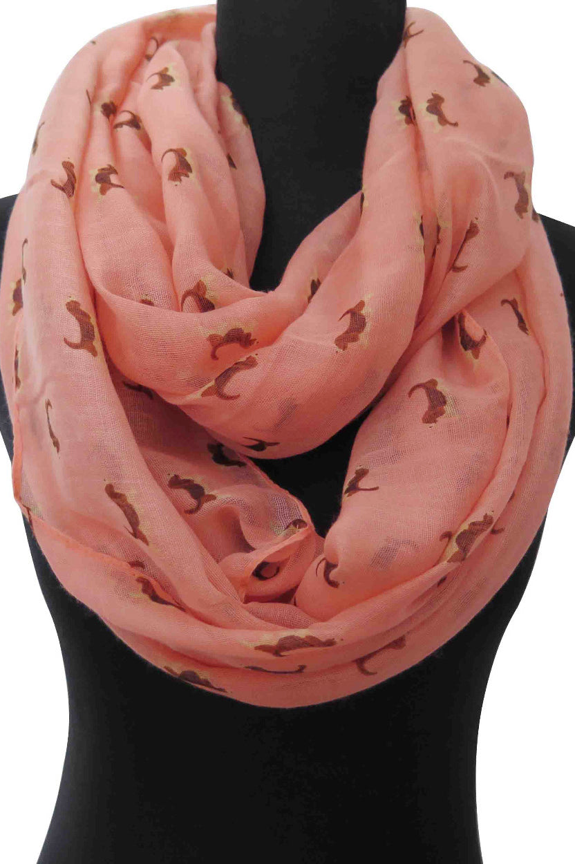 Dog Print Infinity Scarf - Pink