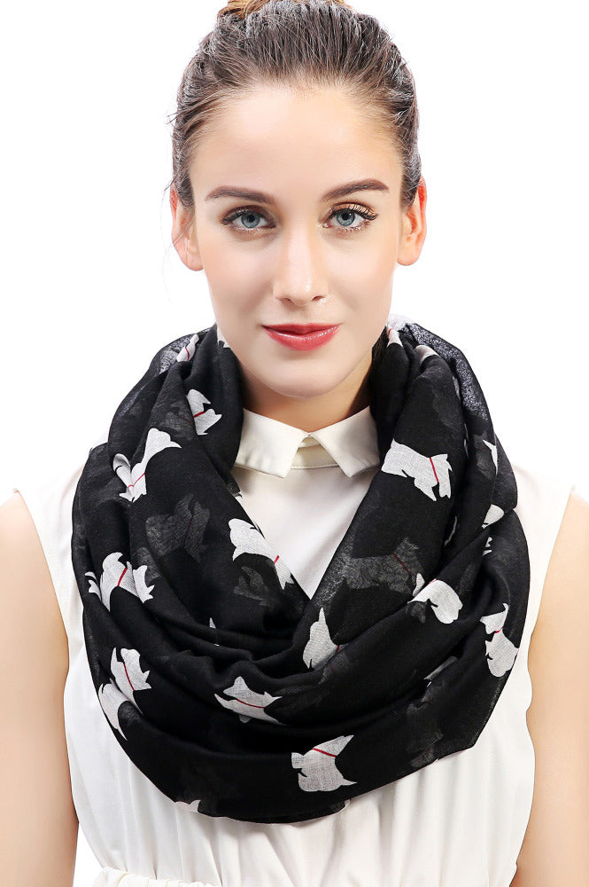 Black & White Dog Infinity Scarf