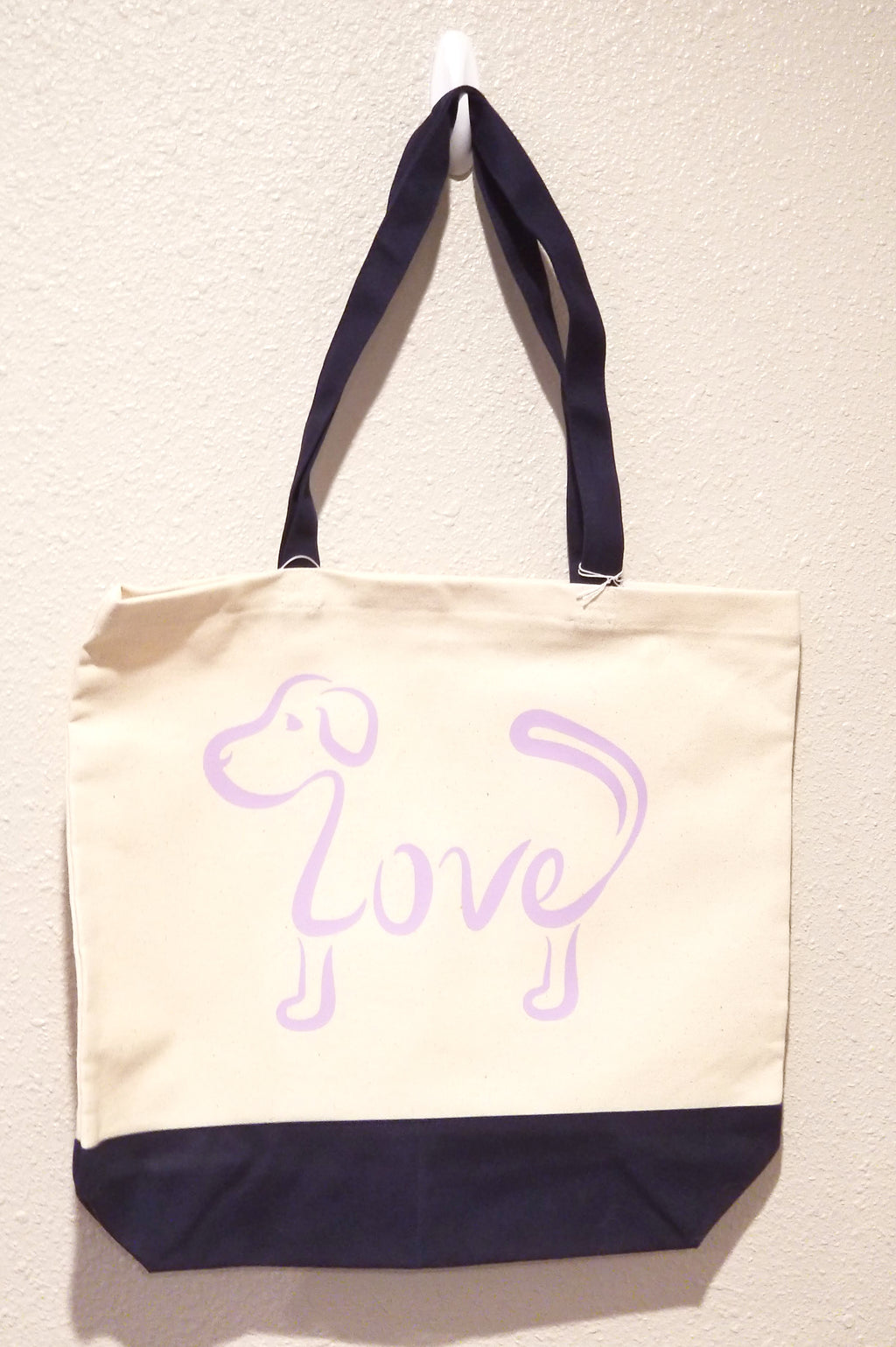 Love Dog - Lilac Tote Bag with Navy Handles