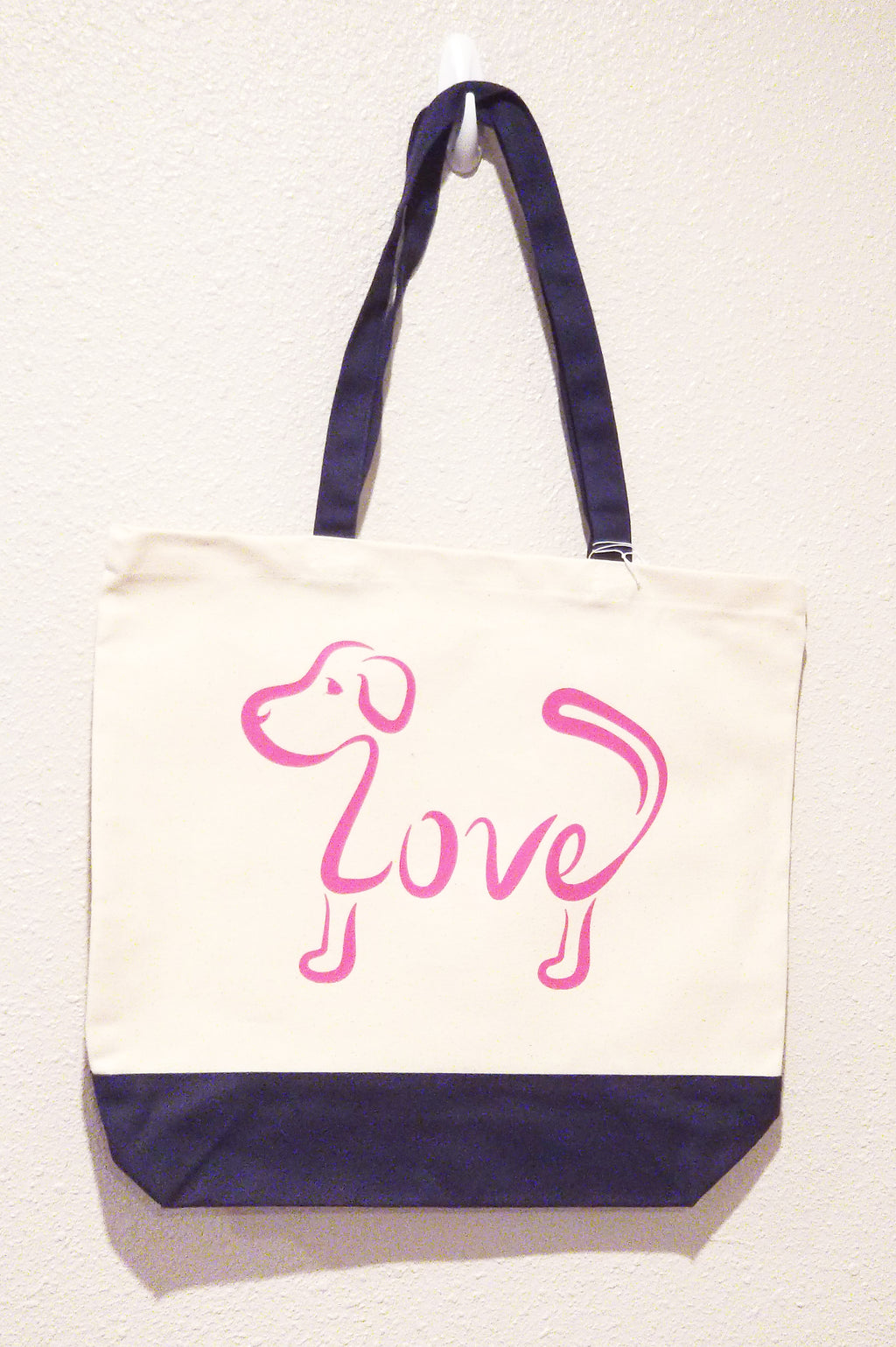 Love Dog - Pink Tote Bag with Navy Handles