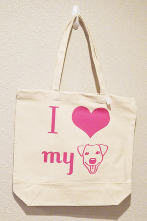 I Love My Dog - Pink Tote Bag