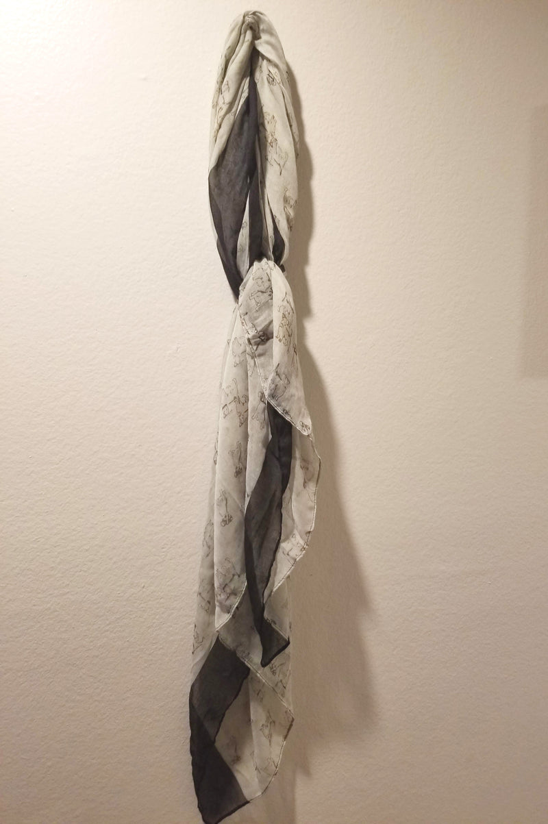 Gray & Black Dog Print Scarf
