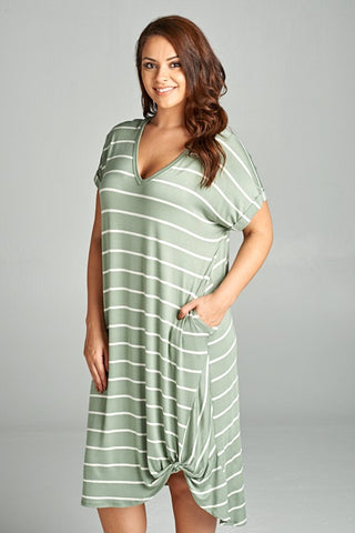 Sage Striped T-Shirt Dress with Pockets
