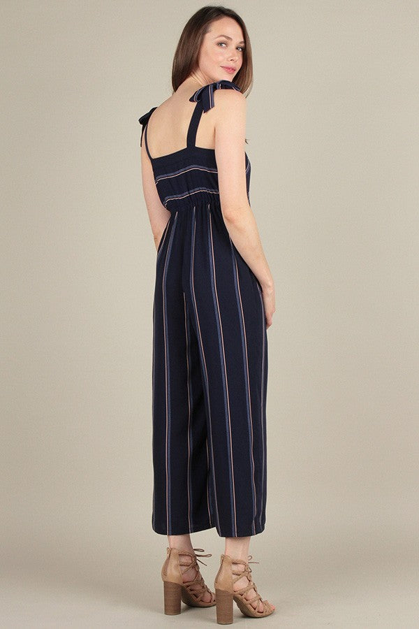 Adeline Navy Striped Jumpsuit