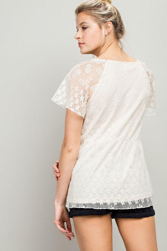 Emma Short Sleeve Lace Top