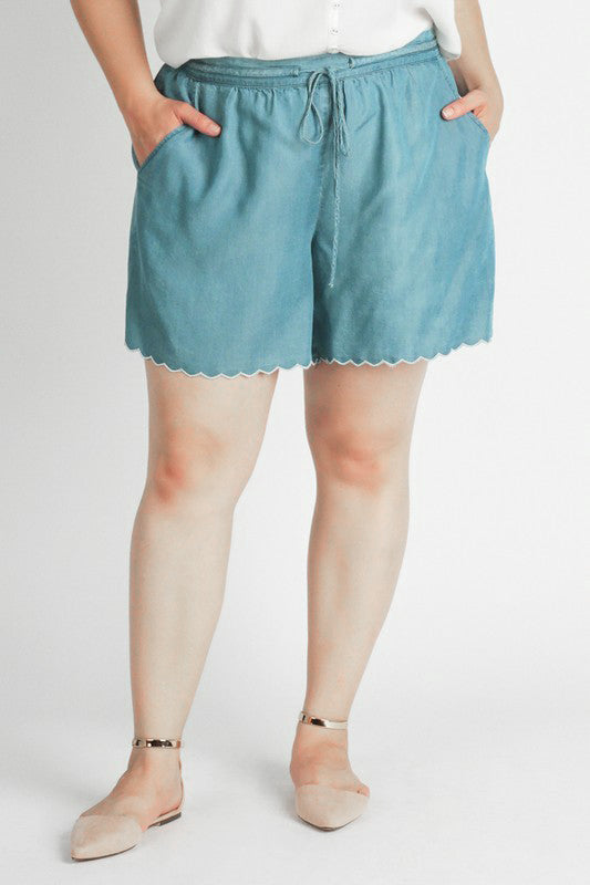 Scalloped Chambray Shorts with Embroidered Trim