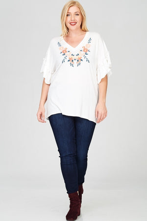 Encinitas Embroidery Ruffle Sleeve Top