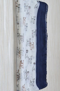 Cream & Navy Dog Print Scarf