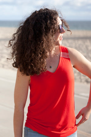 Mykonos Red Tank Top