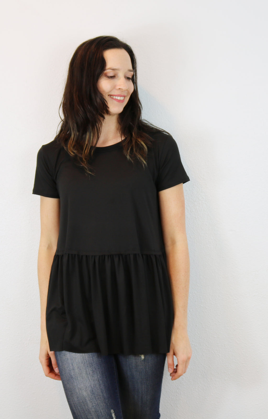 Cambria Peplum Tee in Black