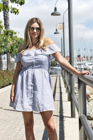 Sea Day Striped Off-the-Shoulder Dress