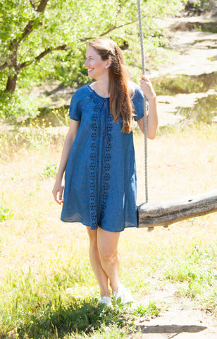 Isla Chambray Shift Dress with Pockets