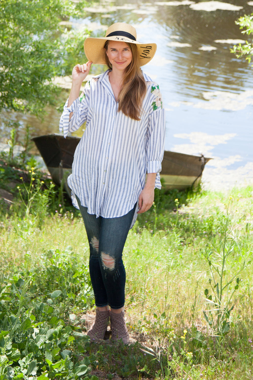 Kendra Embroidered Mesh and Floral Button Down Tunic