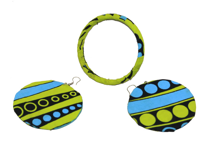 Green and Blue Fabric Round Earrings & Bangle