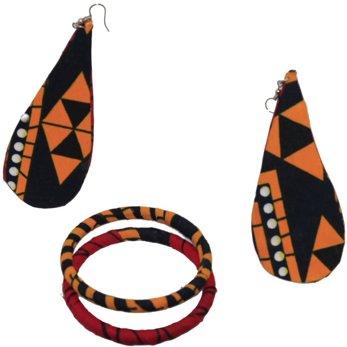 Yellow, Black, and Red Bangle and Earrings Set