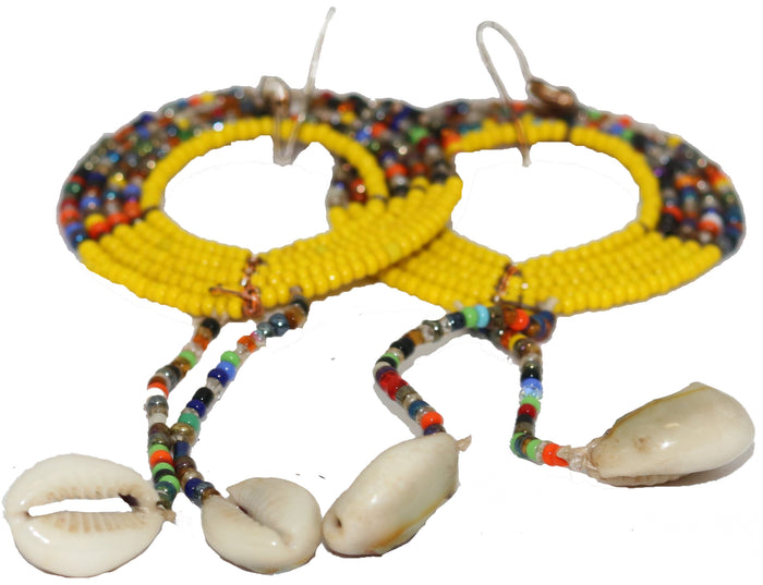 Seed Beaded Cowries Earrings (yellow)