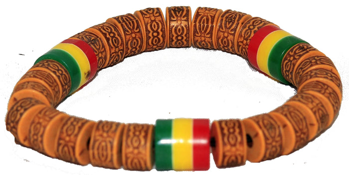 Bracelets (wood color plus red, yellow, and green)