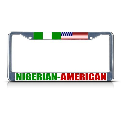 Nigerian American Metal License Plate Frame Tag Border