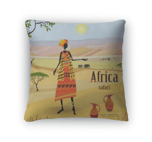 Throw Pillow, African Women In Mountain Landscape