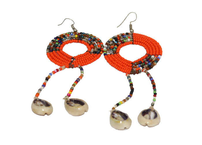 Orange seed beaded Cowries Earrings