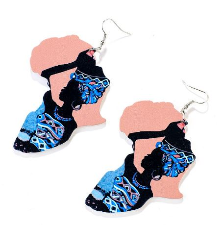 Africa-Tribe Woman Wooden Drop Earring (Pink)