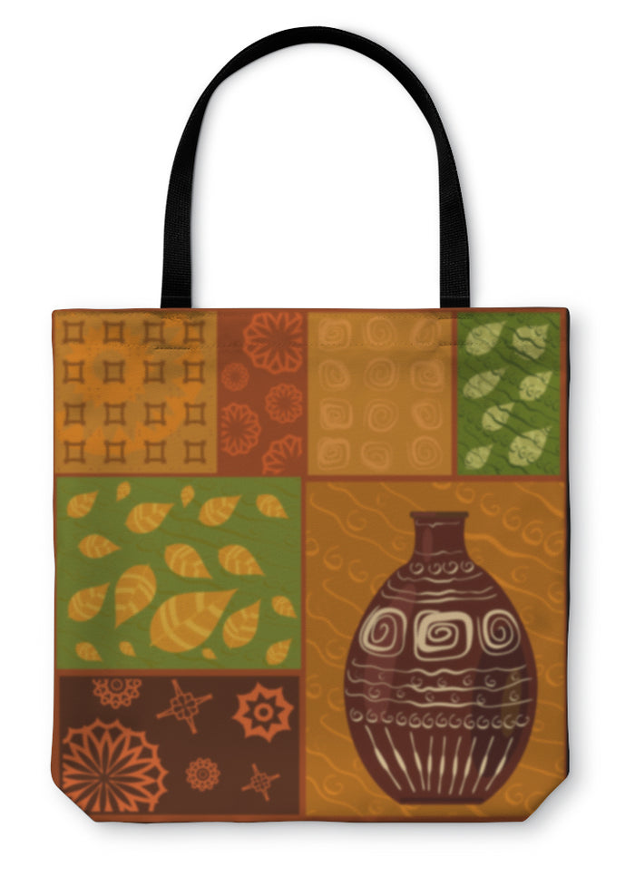 Tote Bag, African Abstract Pattern With A Vase