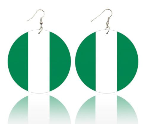 Nigerian Flag Wood Drop Earring