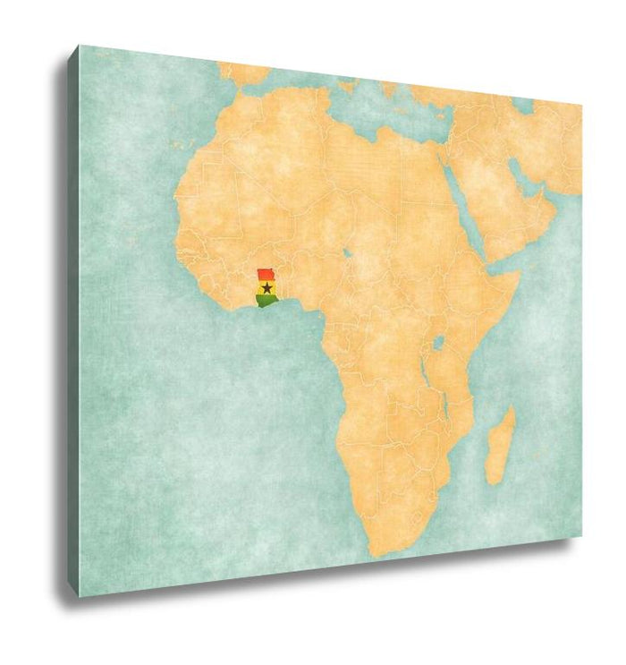 Gallery Wrapped Canvas, Map Of Africa Ghana