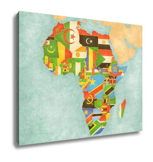 Gallery Wrapped Canvas, Map Of Africa Flags Of All Countries