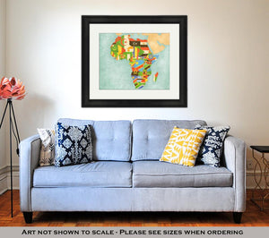 Framed Print, Map Of Africa Flags Of All Countries