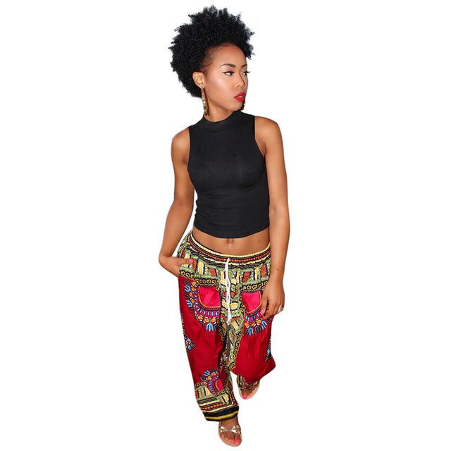 Burgundy Dashiki Drawstring Waist - Loose Pants