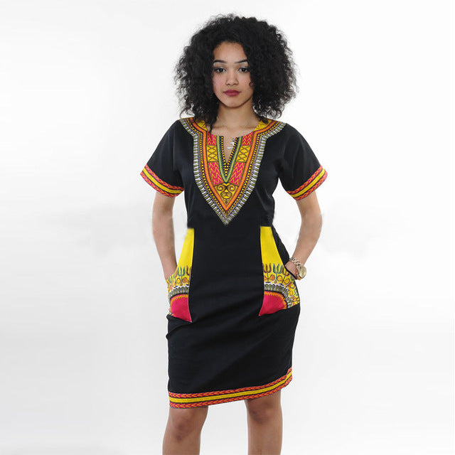 Women Dashiki Dress - Black