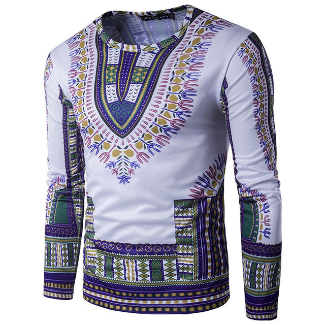 Purple - Long Sleeve Dashiki  Shirt