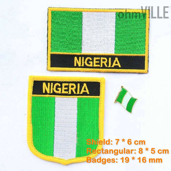 Nigeria Flag Patch Iron On Patches - 100% Quality Guarantee Flag Embroidered Patches + Free Shipping
