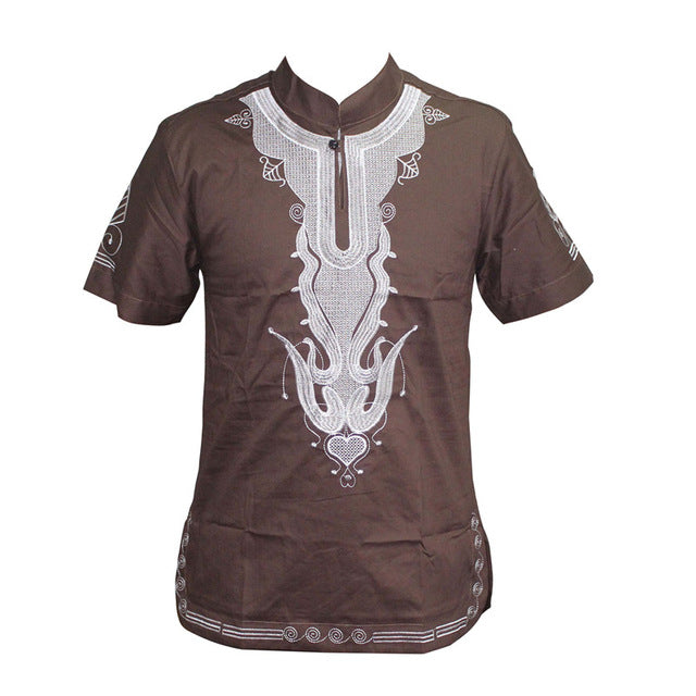 Brown - Men Embroidery Turtleneck Short Sleeve Dashiki Shirt w/Button