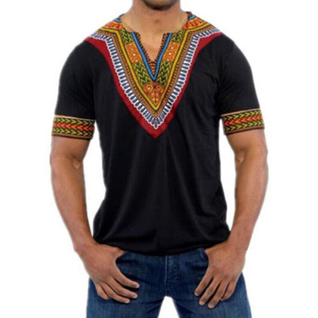Black - Men Traditional Dashiki Shirt