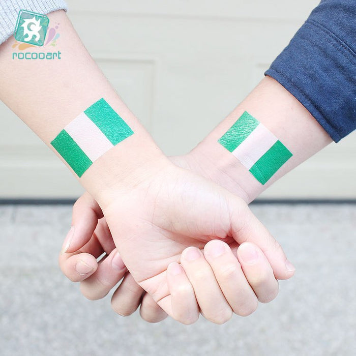 Temporary Body Art Tattoo Of Nigeria National Flag