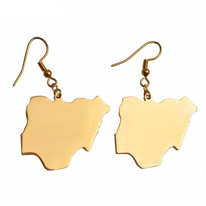 Gold Nigerian Flag Earrings