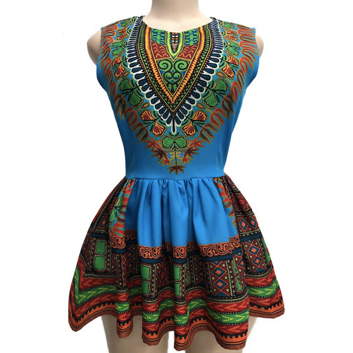 Blue - Women Dashiki sleeveless Ruffle Shirt