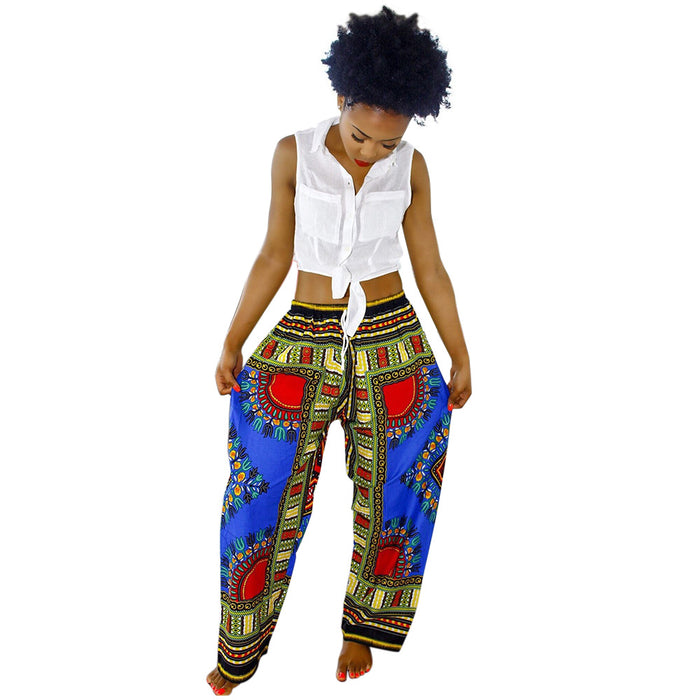Blue Dashiki Drawstring Waist - Loose Pants