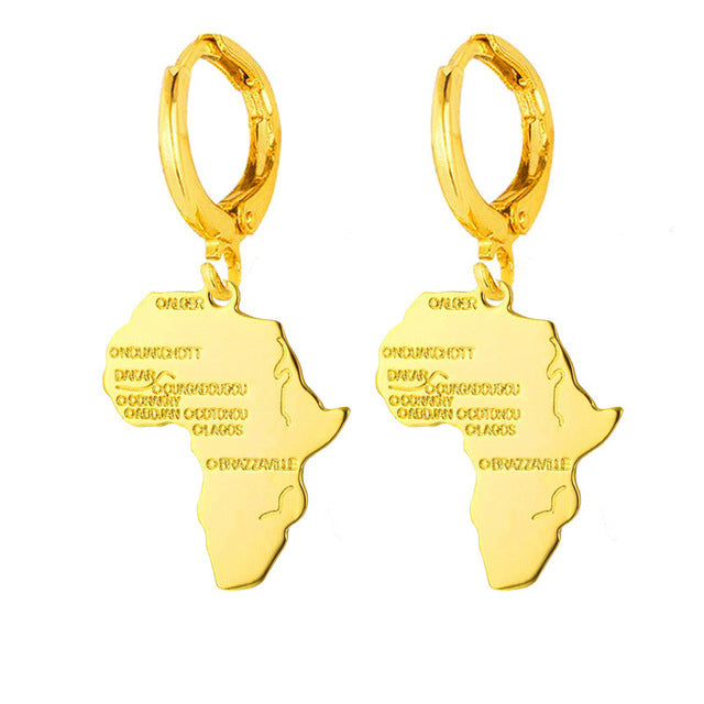 Gold Color African Map Earrings - Weiyu